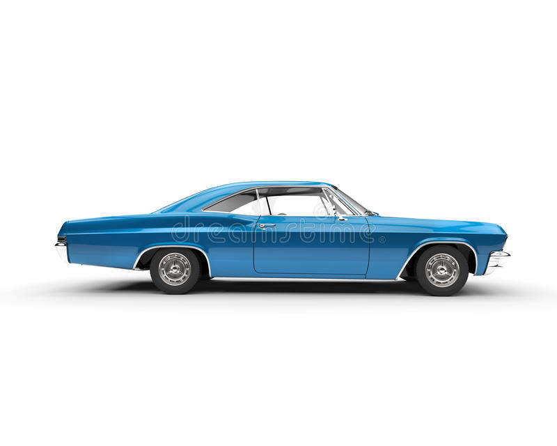 Klassieke spierauto - metaalblauw stock afbeeldingen