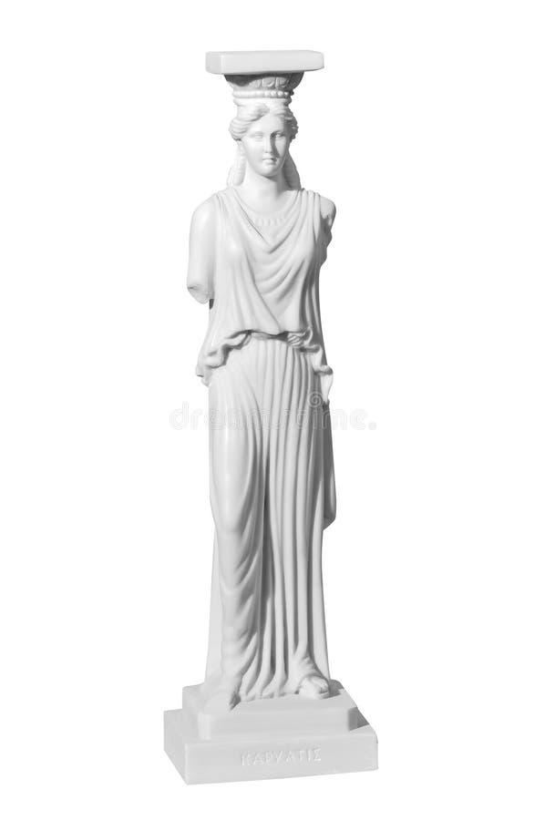 Klassieke standbeeldvrouw op een witte achtergrond stock foto's