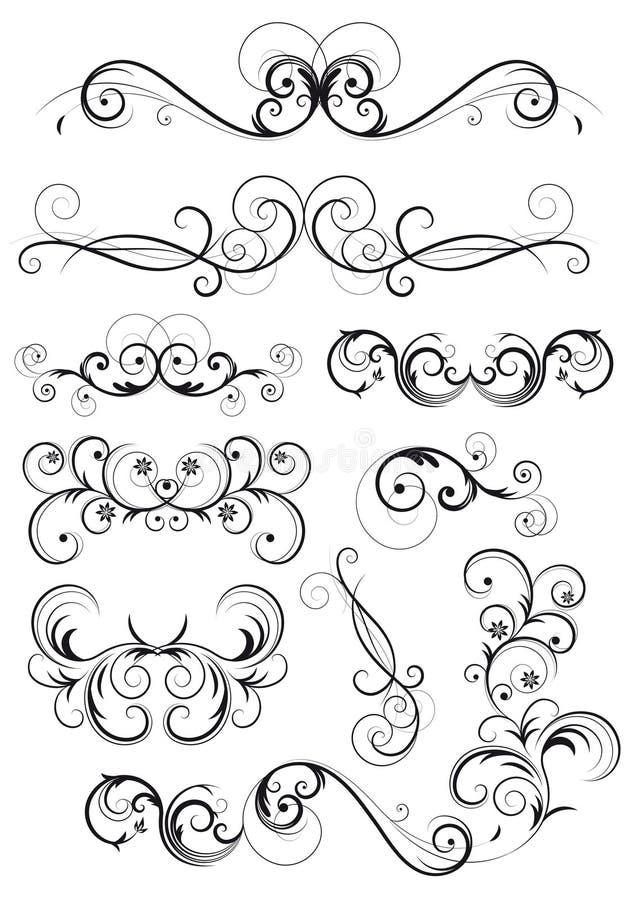 Klassieke swirly bloemendecoratie stock illustratie