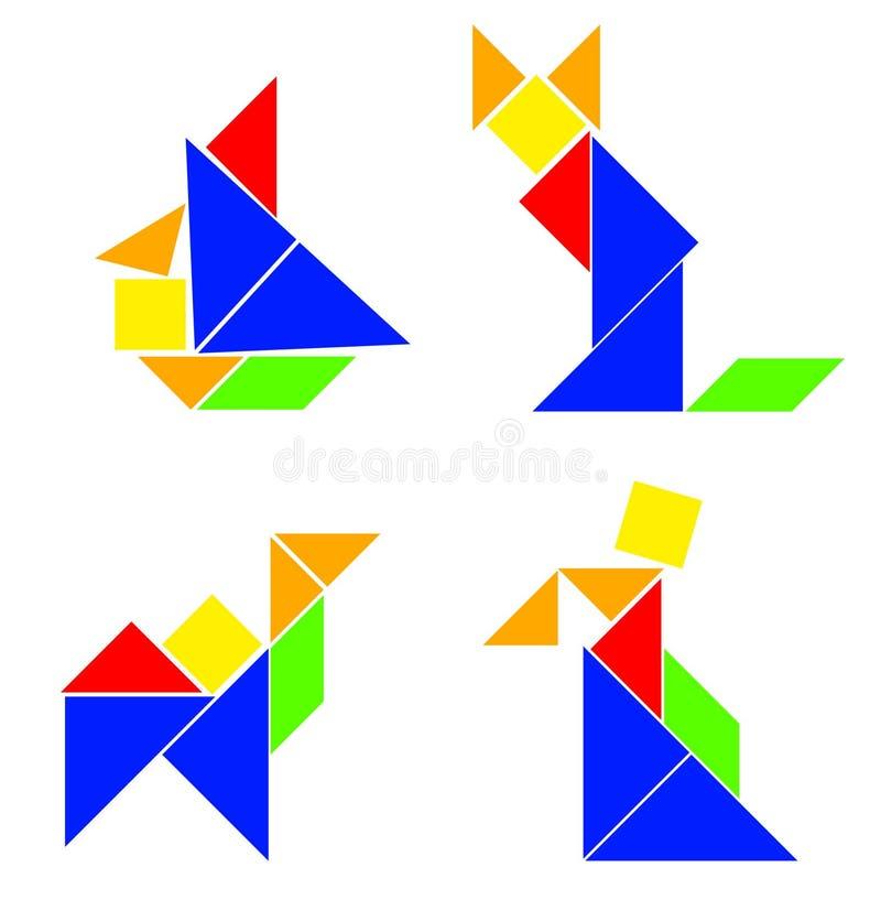 Klassieke Tangram - Diverse Samenstellingen vector illustratie
