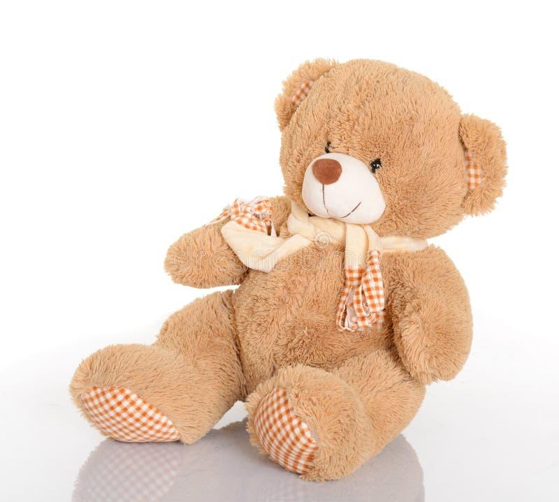 Klassieke teddybeer met sjaal op witte achtergrond stock foto
