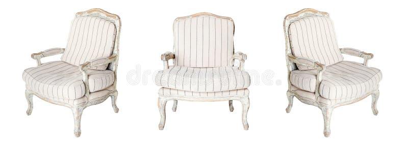 Klassieke textiel witte geïsoleerde stoel stock afbeeldingen
