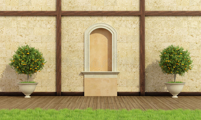 Klassieke tuin met gebied stock illustratie