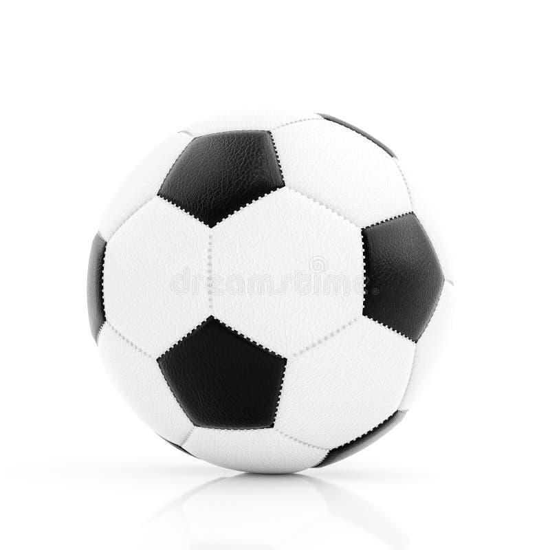 Klassieke voetbalbal met het stikken op witte achtergrond met bezinning over witte oppervlakte stock afbeeldingen