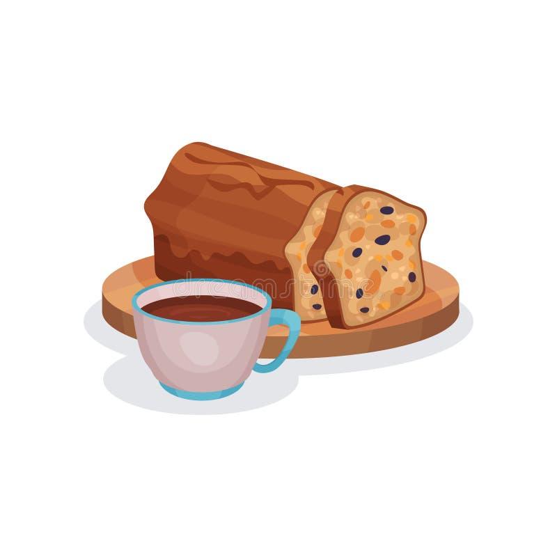 Klassieke vruchtencake met gekonfijte vrucht en kop thee, traditionele Engelse ontbijt vectorillustratie op een wit royalty-vrije illustratie