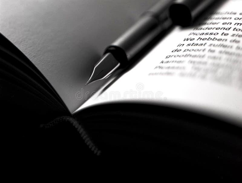 Klassieke vulpen die op een boek liggen stock foto's