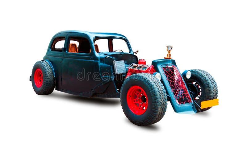 Klassieke Zwarte Hotrod Witte achtergrond stock fotografie