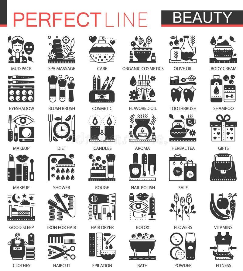 Klassieke zwarte mini het conceptensymbolen van schoonheidsschoonheidsmiddelen De vector Kosmetische moderne geplaatste illustrat stock illustratie