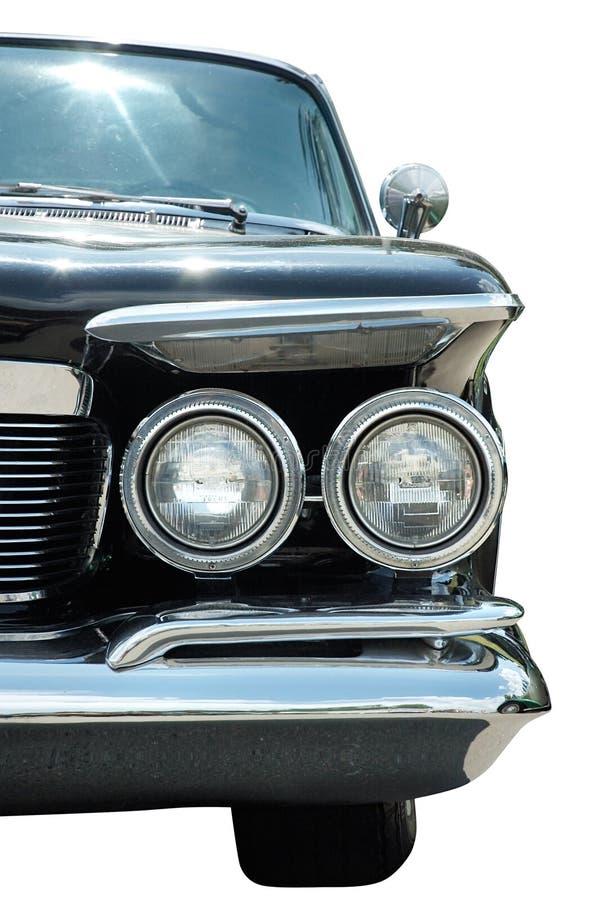 Klassieke zwarte retro geïsoleerder auto stock fotografie