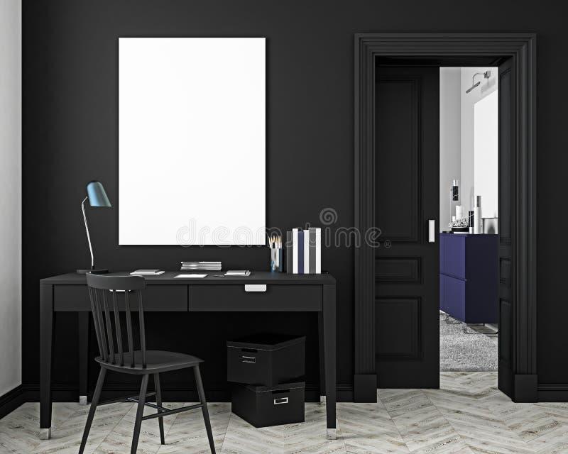 Klassieke zwarte werkplaats binnenlandse spot omhoog met lijst, stoel, deur, witte parketvloer 3d geef illustratie terug vector illustratie