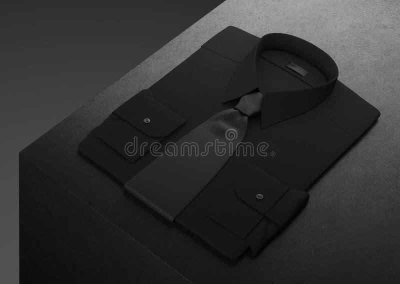 Klassiker och formell skjorta och fluga som staplas på svart bakgrund framförande 3d stock illustrationer