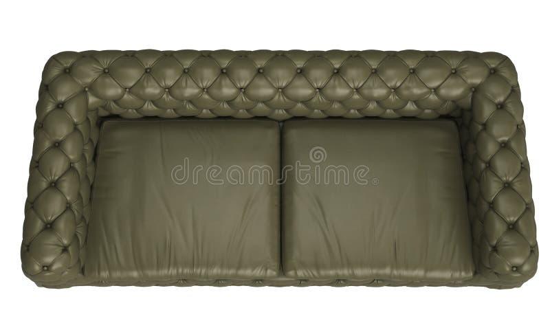 Klassiker tufted soffa som isoleras på vit bakgrund Digital illustration framförande 3d royaltyfri illustrationer