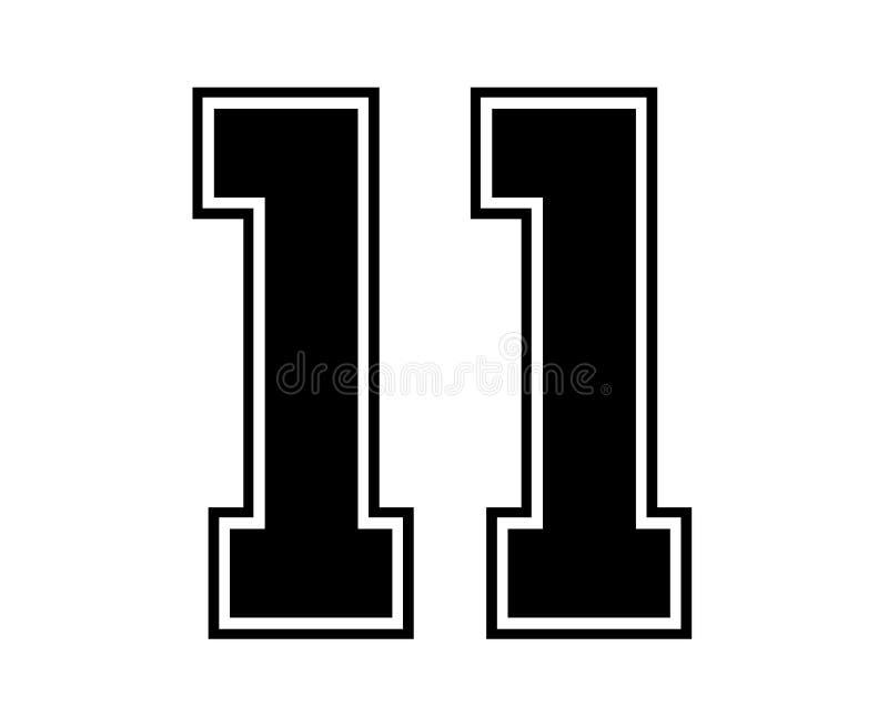 11 Klassiker-Weinlese-Sport-Jersey-Zahl in der schwarzen Zahl auf weißem Hintergrund für amerikanischen Fußball, Baseball oder Ba vektor abbildung