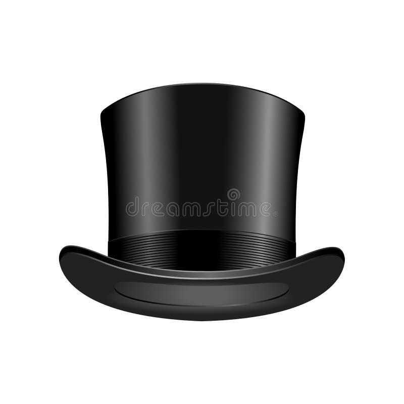 Klassikern för överkanten för beståndsdelen för locket för svart för elegans för gentlemanmodehatten beklär den moderna vektorill royaltyfri illustrationer