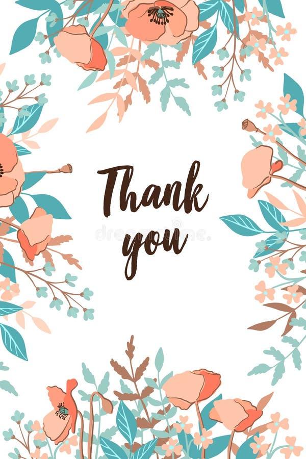 Klassikern och Refind tackar dig kortet med blommarambakgrund, hand som utdragna blom- beståndsdelar märker Vektordesignmall som  fotografering för bildbyråer