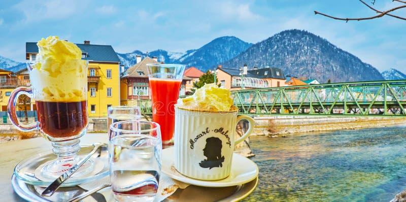 Klassische österreichische Kaffeegetränke, schlechtes Ischl, Salzkammergut, Österreich stockbilder