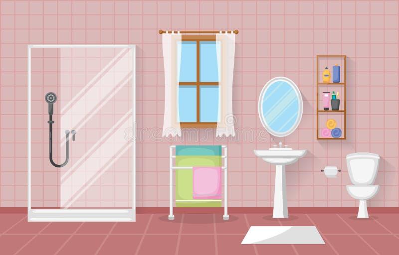 Klassische Badezimmer-Innenreinraum-hölzerne Akzent-Möbel-flacher Entwurf vektor abbildung