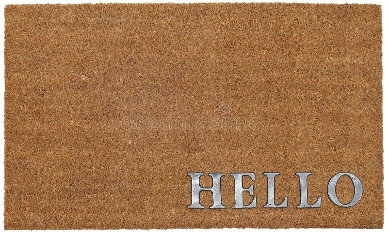 Klassische beige und silberne zute/Coir Türmatte im Freien mit 'hallo 'Text stockfoto