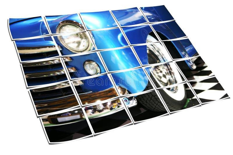 Klassische blaue Limousine mit Whitewalls stockfotos