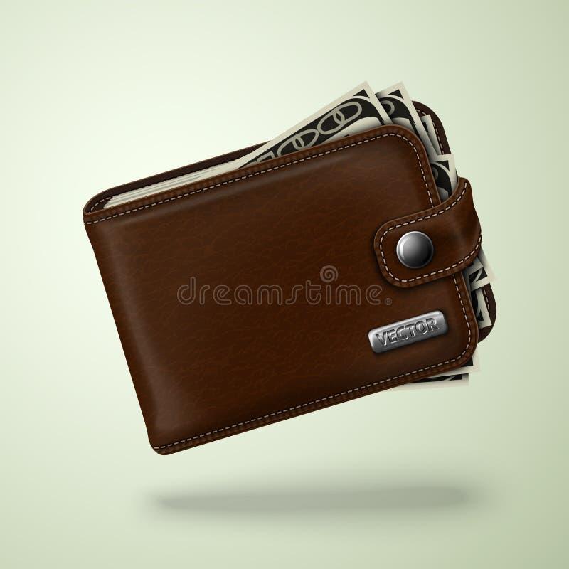 Klassische braune lederne Geldbörse mit Banknoten lizenzfreie abbildung