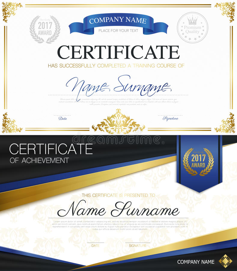 Klassische elegante Zertifikat-Sammlung stock abbildung