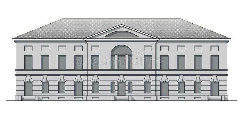 Klassische Fassade des Grayscale des antiken Gebäudes Historisches Haus in der linearen Art stock abbildung