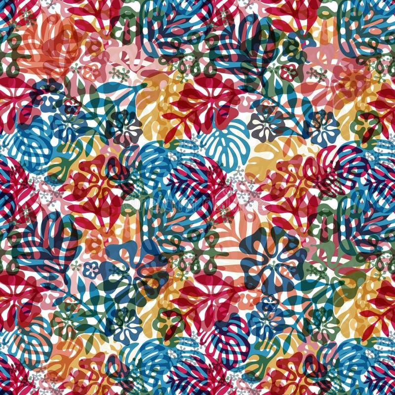 Klassische flache Art des nahtlosen hawaiischen Musters Retro- Blumen von Hibiscusen Auch im corel abgehobenen Betrag vektor abbildung