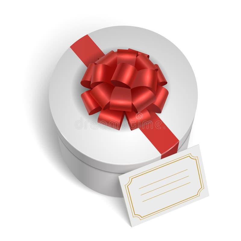 Klassische Geschenkbox mit rotem Band und Bogen vektor abbildung