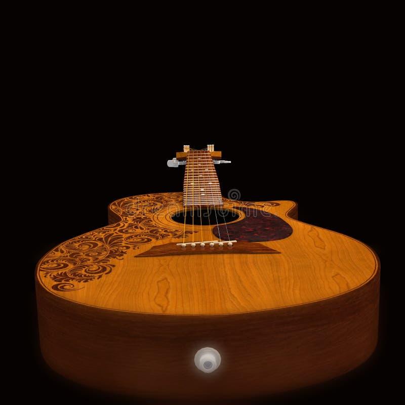 Klassische Gitarre auf schwarzem Hintergrund stockfotografie