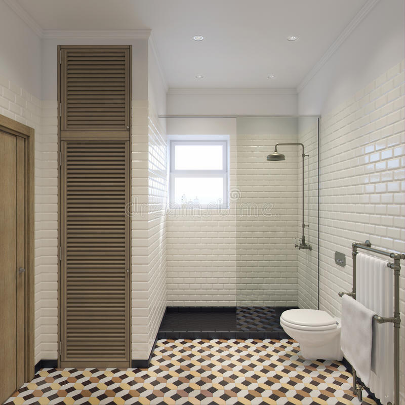 Klassische Illustration des Badezimmers 3d lizenzfreie stockfotos