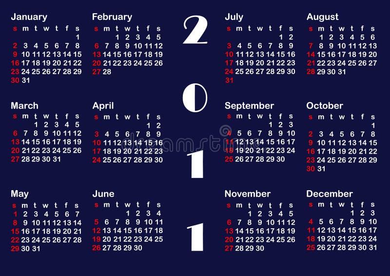 Klassische Kalenderschablone für 2011. Vektor. lizenzfreie abbildung