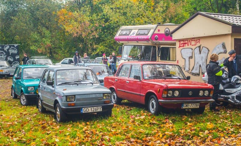 Klassische kleine polnische Autos Polski Fiat 126p und 125p lizenzfreies stockfoto