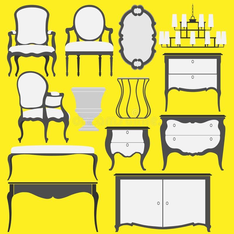 Klassische Möbel und Wohnaccessoires stockfotos
