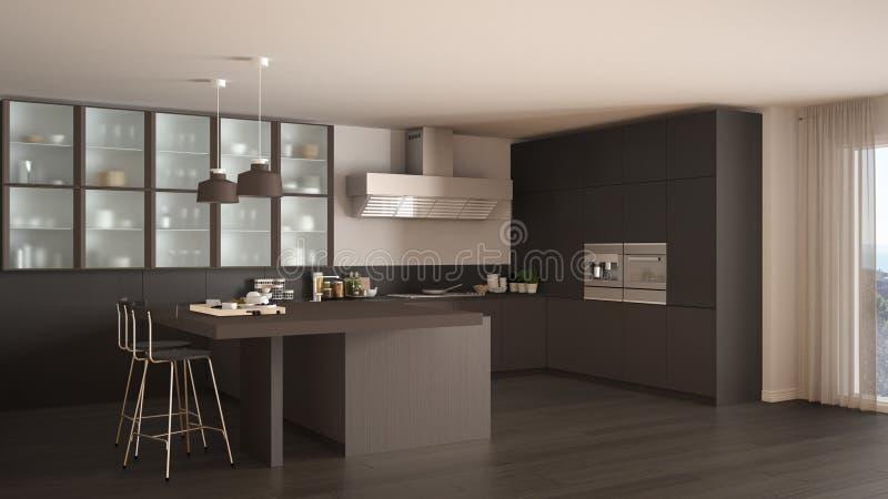 Braune Küche klassische minimale graue und braune küche mit parkettboden moder
