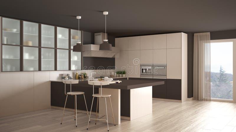 Braune Küche klassische minimale weiße und braune küche mit parkettboden modus