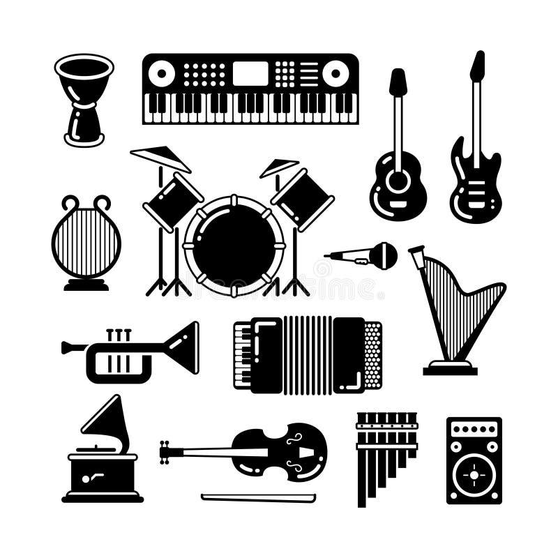 Klassische Musikinstrumente, Schattenbildvektorikonen vektor abbildung