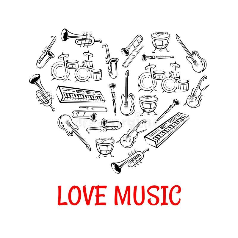 Klassische Musikinstrumentikonen geformt als Herz lizenzfreie abbildung