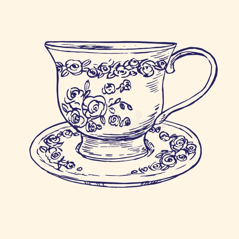 Klassische Porzellantasse und untertasse mit Rosen und Blätter verzieren, übergeben gezogenes Gekritzel, einfache Skizze in der P stock abbildung