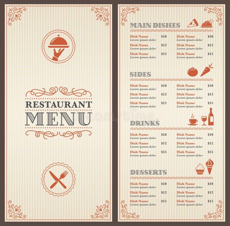 Klassische Restaurant-Menü-Schablone Vektor Abbildung - Illustration ...