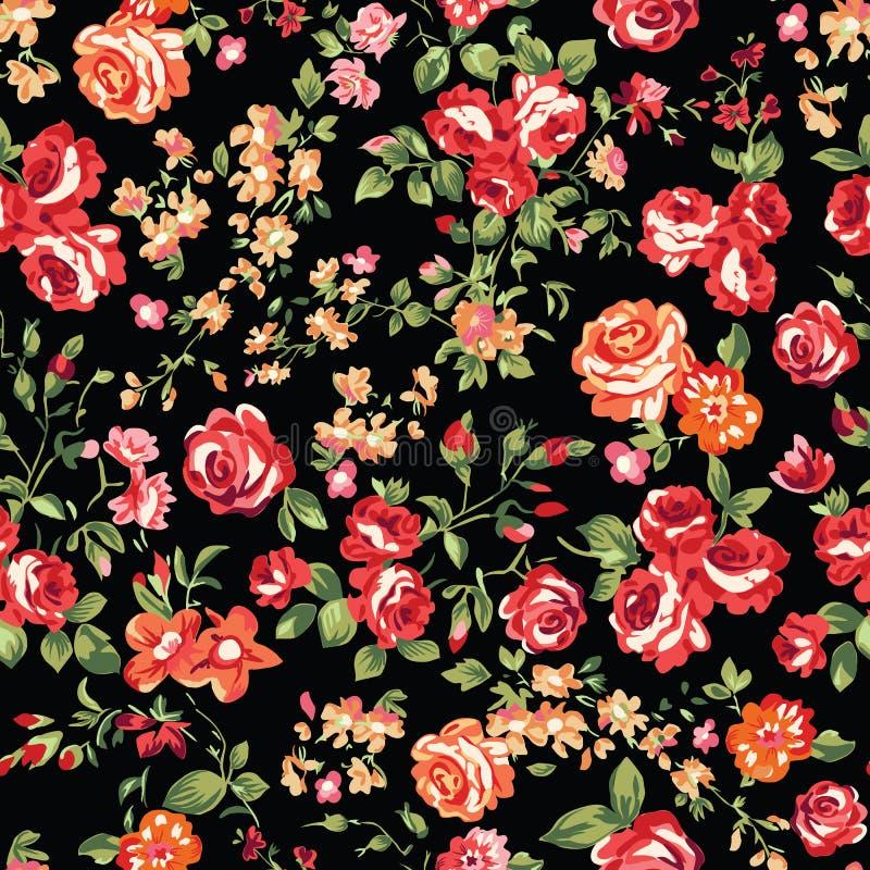 Klassische Rosen auf Schwarzem stock abbildung