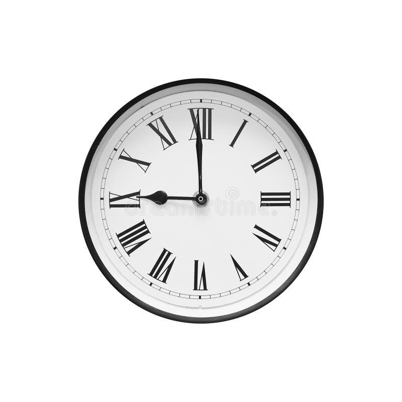 Klassische runde Schwarzweiss-Uhr lokalisiert auf Weiß lizenzfreie stockfotos