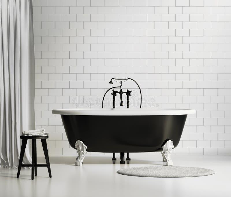 Klassische Schwarzweiss-Badewanne lizenzfreie stockfotografie
