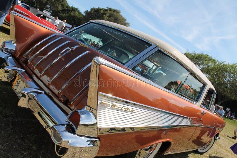 Klassische seltene Amerikaner Chevy-Autonahaufnahme stockfotos