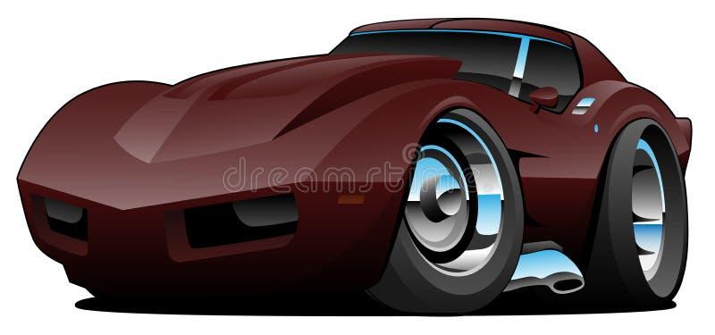 Klassische Siebziger-amerikanische Sport-Auto-Karikatur lokalisierte Vektor-Illustration lizenzfreie abbildung