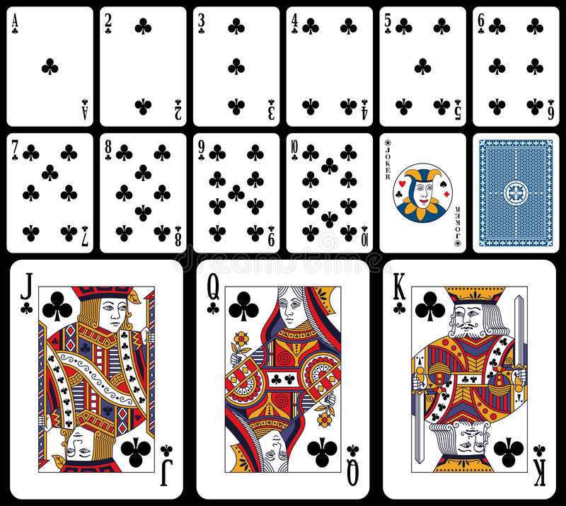 Klassische Spielkarten - Klumpen stock abbildung