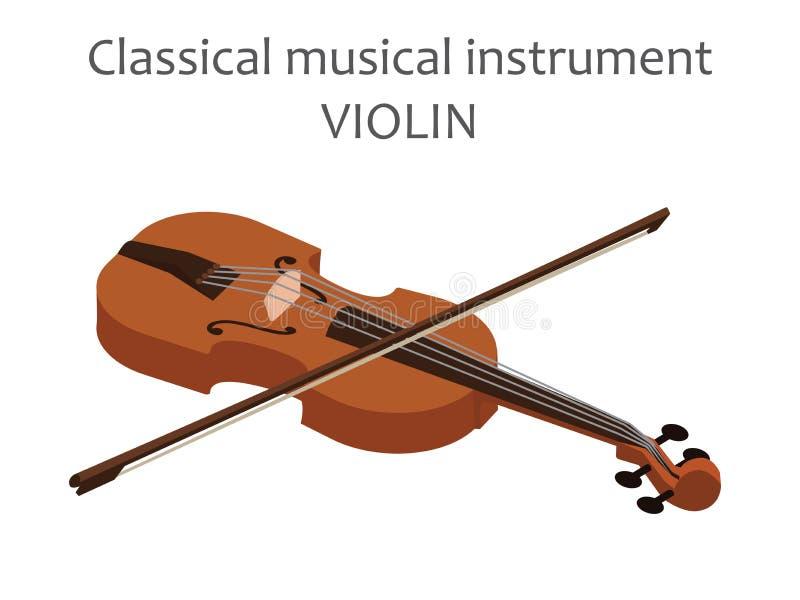Klassische Violine mit Bogen Vector Illustration der braunen Viola in der flachen Art lokalisiert auf weißem Hintergrund Aufgerei stock abbildung