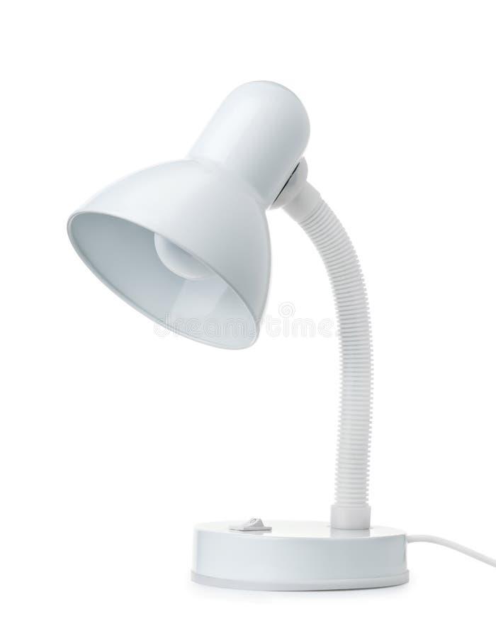 Klassische weiße Schreibtischlampe stockbild