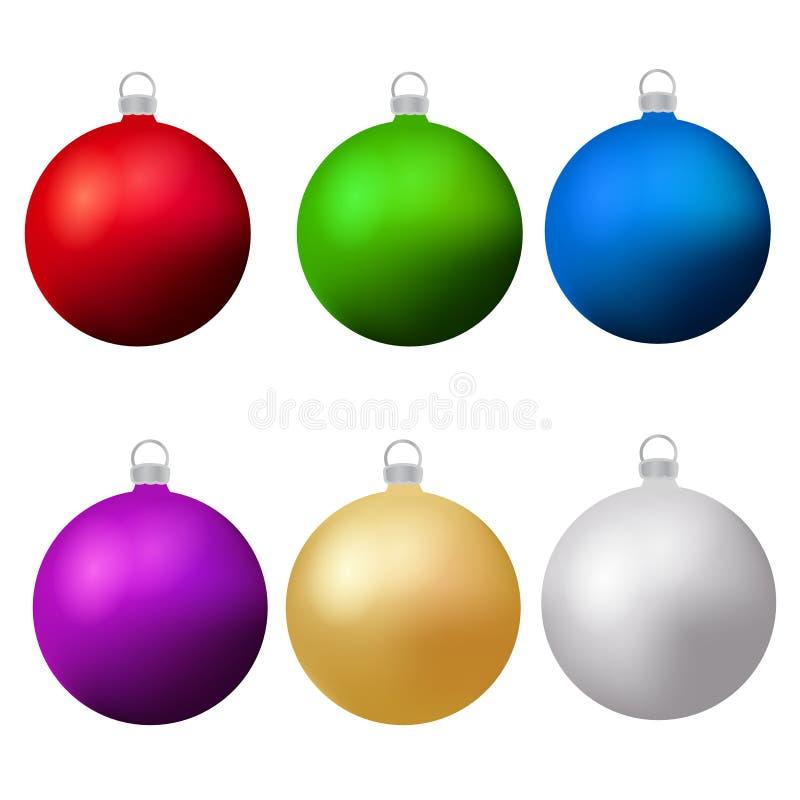 Klassische Weihnachtsbälle eingestellt Flittergestaltungselemente des neuen Jahres Auch im corel abgehobenen Betrag lizenzfreie abbildung