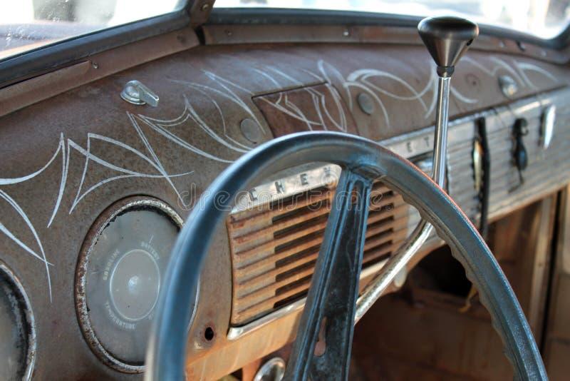 Klassischer amerikanischer LKW-Innenraum stockfoto