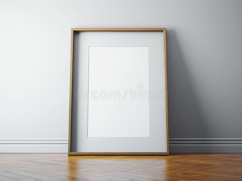 Klassischer Bilderrahmen und Sonnenlicht auf einer Wand 3d übertragen vektor abbildung